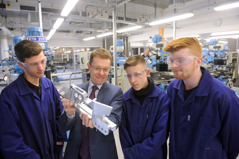 Engineering students at Dudley College meet with Mayoral candidate: Jordan Bailey (aged 17), Andy Street, Jordan Mitchell (aged 17) and Harry Bennett (aged 19)