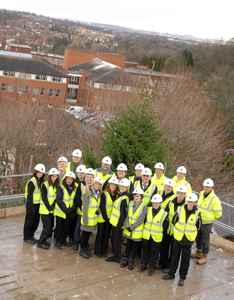 Dudley College Staff and Students celebrate at the Topping Out Ceremony
