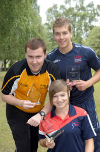 From left to right:  Ross Ensor, Volunteer of the Year, Lyndsey Glover representing the team for Growing the Game Award and Liam Jones representing the team for College of the Year Award.