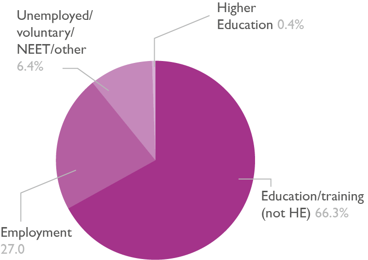 Pie chart showing the destinations of adult learners on level 1 programmes