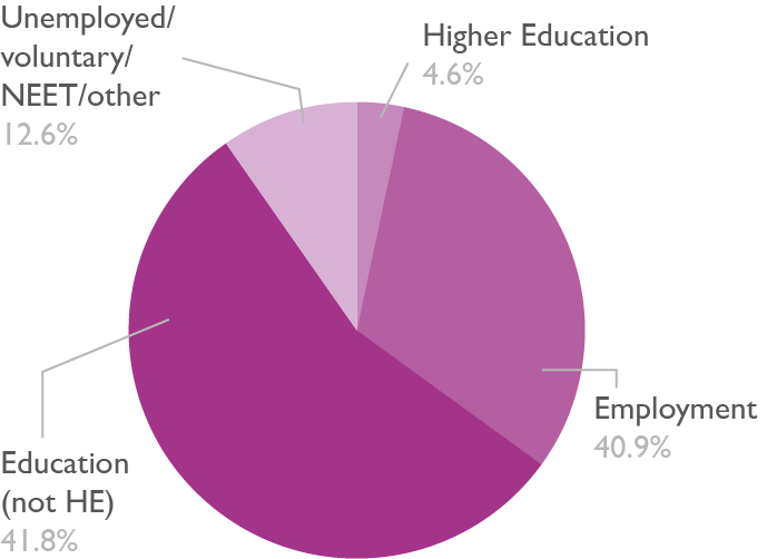 Pie chart showing the destinations of adult learners on level 2 programmes