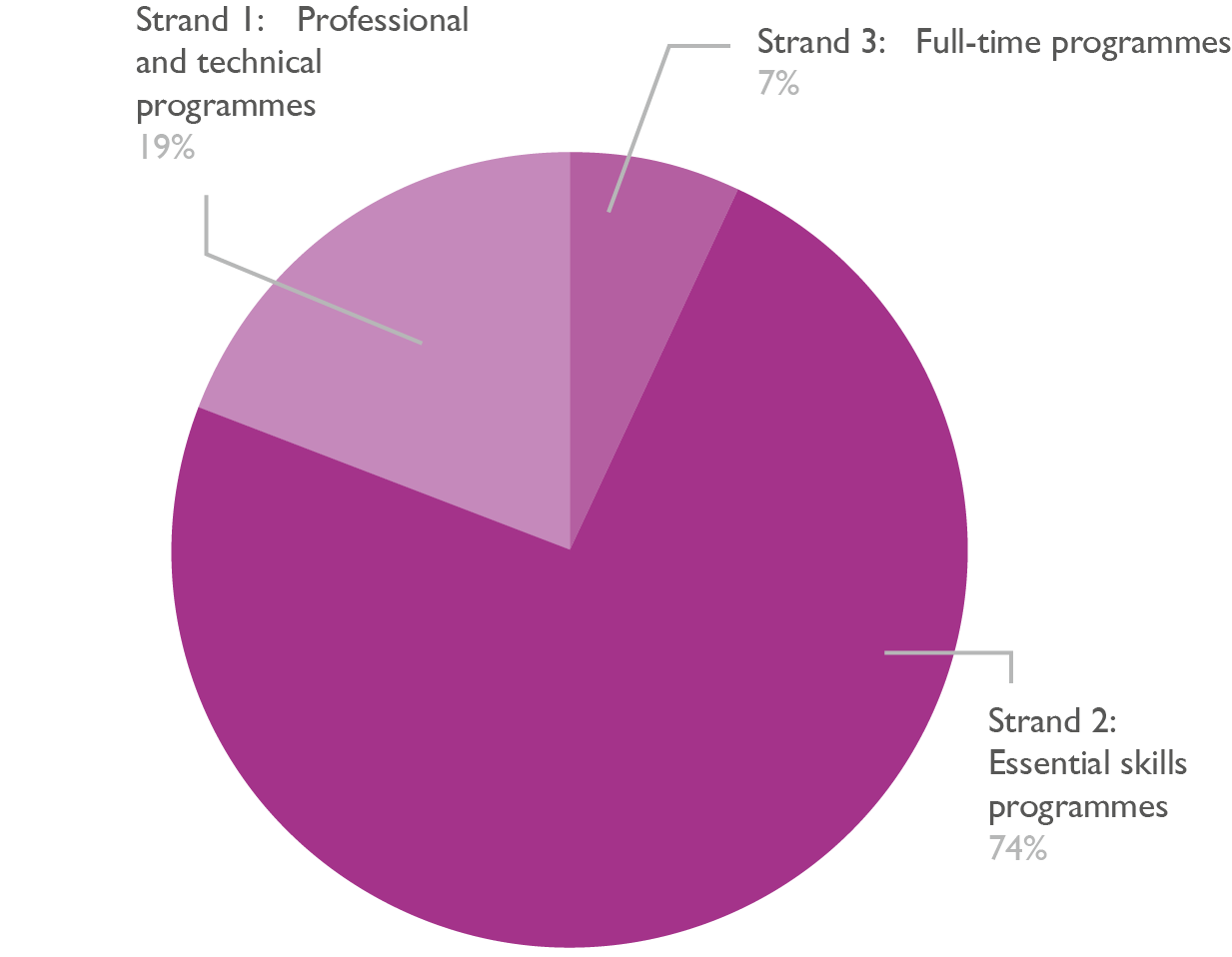 Pie chart showing adult learners split by strand