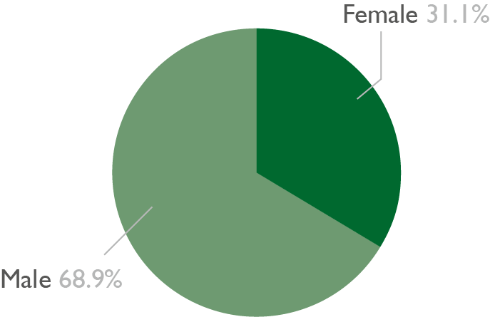 Pie chart showing the gender diversity of 16 to 18 apprentices