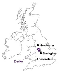 map showing Dudley in central England