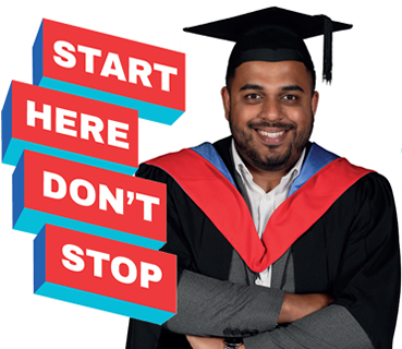 Start here dont stop graphics, alongside male learner wearing graduation gown.